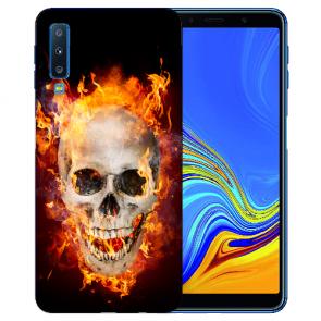 Samsung Galaxy A7 (2018) TPU Hülle mit Fotodruck Totenschädel Feuer