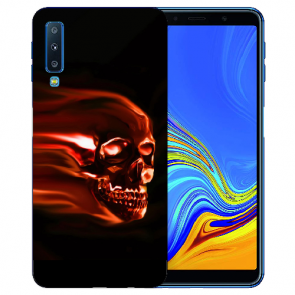 Samsung Galaxy A7 (2018) TPU Hülle mit Totenschädel Fotodruck Etui