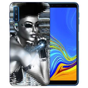 Samsung Galaxy A7 (2018) Silikon TPU Hülle mit Fotodruck Robot Girl