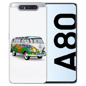 Samsung Galaxy A80 Silikon TPU Hülle mit Bilddruck Hippie Bus