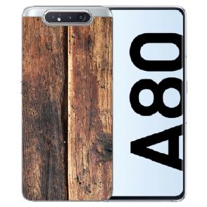 Samsung Galaxy A80 Silikon TPU Hülle mit Bilddruck HolzOptik