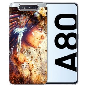 Samsung Galaxy A80 Silikon TPU Hülle mit Bilddruck Indianerin Porträt