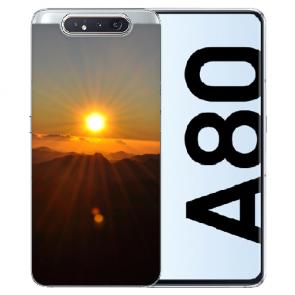 Samsung Galaxy A80 Silikon TPU Hülle mit Bilddruck Sonnenaufgang