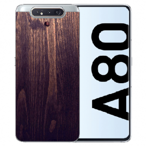 Samsung Galaxy A80 Silikon TPU mit Bilddruck HolzOptik Dunkelbraun