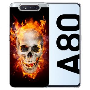 Samsung Galaxy A80 Silikon TPU Hülle mit Bilddruck Totenschädel Feuer