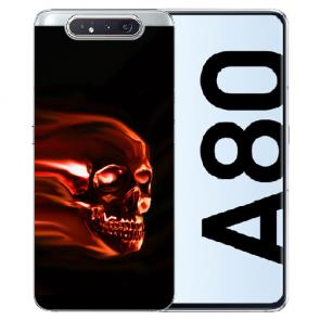Samsung Galaxy A80 Silikon TPU Hülle mit Bilddruck Totenschädel
