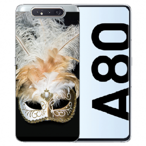 Samsung Galaxy A80 Silikon TPU Hülle mit Bilddruck Venedig Maske
