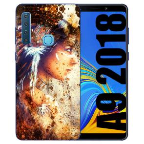 Samsung Galaxy A9 (2018) TPU Hülle mit Bilddruck Indianerin Porträt