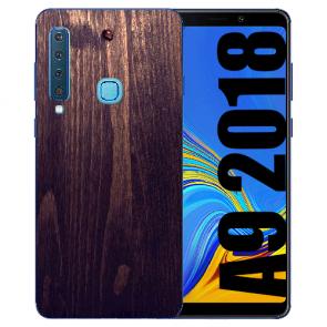 Samsung Galaxy A9 (2018) TPU Hülle mit Bilddruck HolzOptik Dunkelbraun