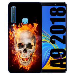 Samsung Galaxy A9 (2018) TPU Hülle mit Bilddruck Totenschädel Feuer