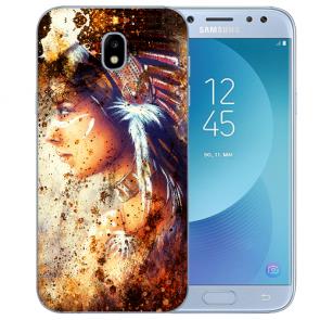 Samsung Galaxy J3 (2017) Silikon Hülle mit Fotodruck Indianerin Porträt