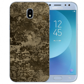 Samsung Galaxy J3 (2017) Silikon TPU Hülle mit Fotodruck Braune Muster