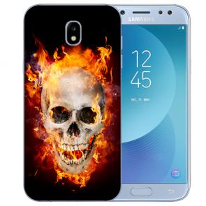 Samsung Galaxy J3 (2017) Silikon Hülle mit Fotodruck Totenschädel Feuer