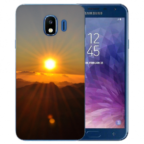 Samsung Galaxy J4 (2018) Silikon TPU Hülle mit Fotodruck Sonnenaufgang