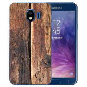 Samsung Galaxy J4 (2018) Silikon TPU Hülle mit Fotodruck HolzOptik