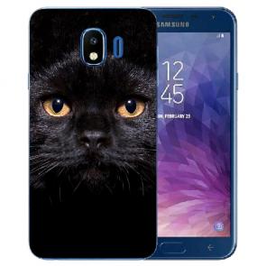 Samsung Galaxy J4 (2018) Silikon TPU Hülle mit Schwarz Katze Fotodruck