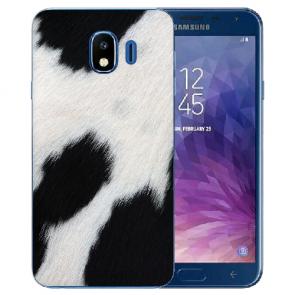 Samsung Galaxy J4 (2018) Silikon TPU Hülle mit Fotodruck Kuhmuster