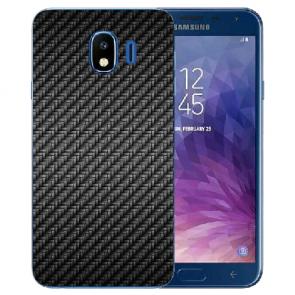 Samsung Galaxy J4 (2018) Silikon TPU Hülle mit Fotodruck Carbon Optik