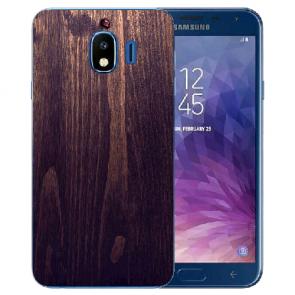 Samsung Galaxy J4 (2018) Silikon Hülle mit Fotodruck HolzOptik Dunkelbraun