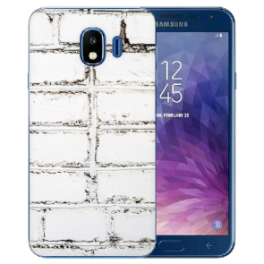 Samsung Galaxy J4 (2018) Silikon TPU Hülle mit Fotodruck Weiße Mauer