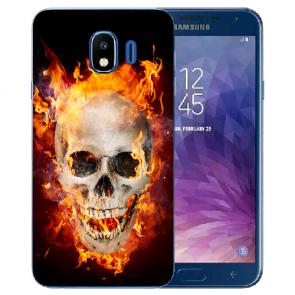 Samsung Galaxy J4 (2018) Silikon Hülle mit Fotodruck Totenschädel Feuer