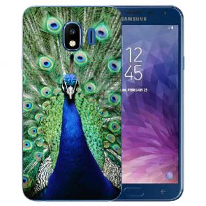 Samsung Galaxy J4 (2018) Silikon TPU Hülle mit Fotodruck Pfau Etui