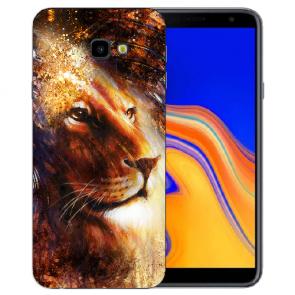 Samsung Galaxy J4 + (2018) Silikon Hülle mit Fotodruck LöwenKopf Porträt