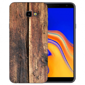 Samsung Galaxy J4 Plus (2018) TPU Silikon Hülle mit Fotodruck HolzOptik