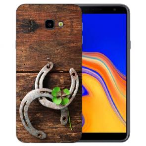 Samsung Galaxy J4 Plus (2018) Silikon Hülle mit Fotodruck Holz hufeisen