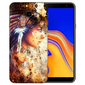 Samsung Galaxy J4 + (2018) Silikonhülle mit Fotodruck Indianerin Porträt