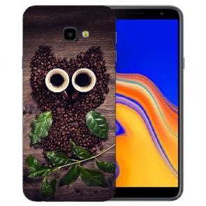 Samsung Galaxy J4 Plus (2018) Silikon Hülle mit Fotodruck Kaffee Eule