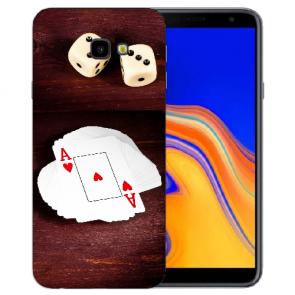 Samsung Galaxy J4 + (2018) Silikon Hülle mit Fotodruck Spielkarten-Würfel