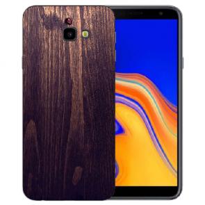 Samsung Galaxy J4 + (2018) Silikon Hülle mit Fotodruck HolzOptik Dunkelbraun