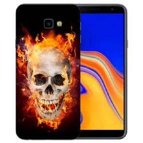 Samsung Galaxy J4 + (2018) Silikonhülle mit Fotodruck Totenschädel Feuer