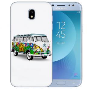 Samsung Galaxy J5 (2017) Silikon Hülle mit Fotodruck Hippie Bus Etui