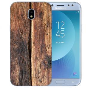 Samsung Galaxy J5 (2017) Silikon Hülle mit Fotodruck HolzOptik Etui