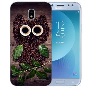 Samsung Galaxy J5 (2017) Silikon Hülle mit Fotodruck Kaffee Eule
