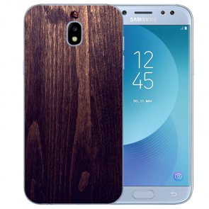 Samsung Galaxy J5 (2017) Silikon Hülle mit Fotodruck HolzOptik Dunkelbraun