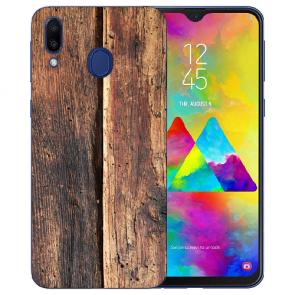 Samsung Galaxy M20 Silikon TPU Hülle mit HolzOptik Fotodruck Etui