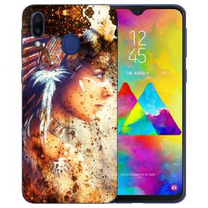 Samsung Galaxy M20 Silikon TPU Hülle mit Fotodruck Indianerin Porträt