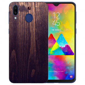 Samsung Galaxy M20 Silikon TPU mit Fotodruck HolzOptik Dunkelbraun