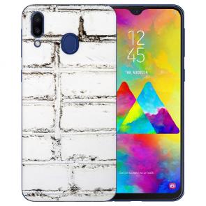Samsung Galaxy M20 Silikon TPU Hülle mit Bilddruck Weiße Mauer