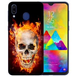 Samsung Galaxy M20 Silikon TPU Hülle mit Fotodruck Totenschädel Feuer
