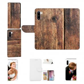 Samsung Galaxy Note 10 Schutzhülle Handy Tasche mit Fotodruck HolzOptik