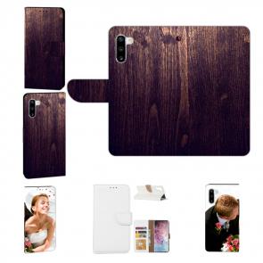 Samsung Galaxy Note 10 Handy Tasche mit Fotodruck HolzOptik Dunkelbraun