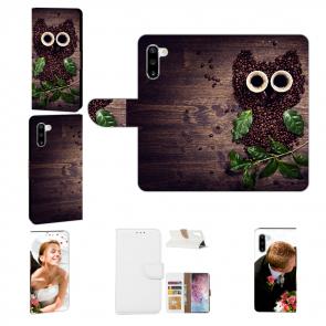 Samsung Galaxy Note 10 Handy Hülle mit Fotodruck Kaffee Eule Etui