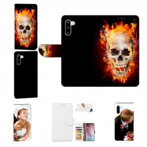 Samsung Galaxy Note 10 Handy Hülle mit Fotodruck Totenschädel Feuer