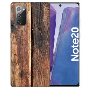 Samsung Galaxy Note 20 TPU Silikon Hülle mit Bilddruck HolzOptik Etui