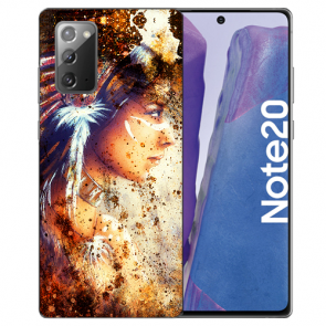 Samsung Galaxy Note 20 TPU Silikon Hülle mit Bilddruck Indianerin Porträt