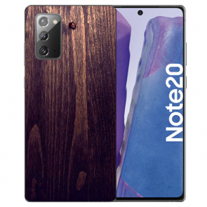 Samsung Galaxy Note 20 TPU Hülle mit Bilddruck HolzOptik Dunkelbraun